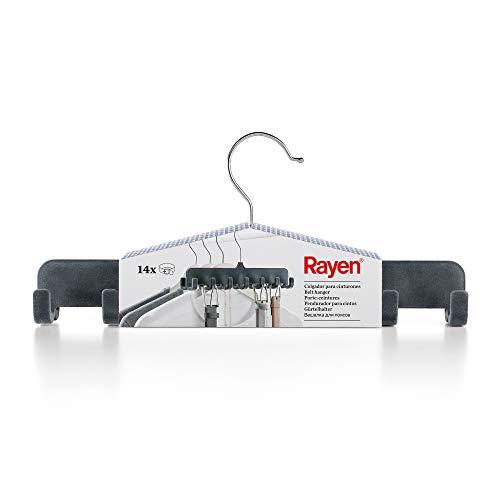 Rayen Gris Oscuro Colgador Capacidad para 14 Unidades | Color Percha para Colgar Cinturones u Otros Accesorios | Dimensiones, ABS Flocado, 31,5 x 14,4 x 4,5 cm