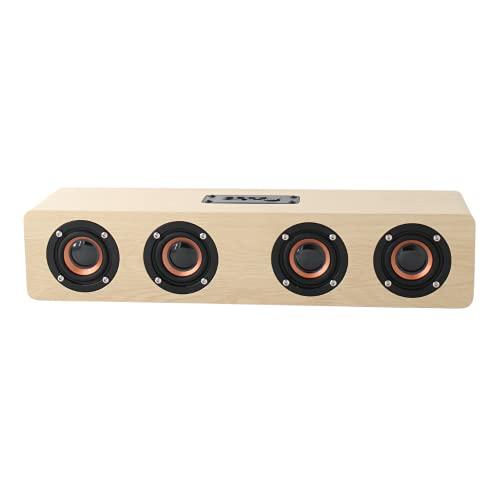 Ovegna Q4BT: Barra de sonido Home Cinema de madera, inalámbrica, HiFi Bluetooth, 4 altavoces Surround, potencia 20 W, batería 3000 mAh, conector Jack, TF, para SmartTV, Smartphone, PC