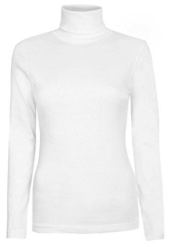 Rollkragenpullover für Damen, Langarm, einfarbig, dehnbar Gr. 34, weiß