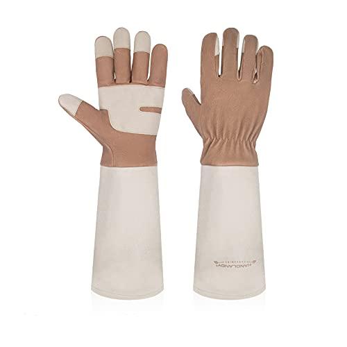 Gardening Gloves for Women & Men, Leather Long Sleeve Rose Pruning Gloves, Thorn Proof Garden Work Gauntlet (Medium, Brown)