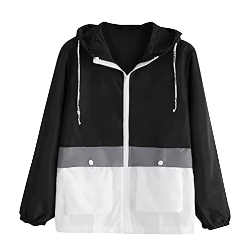 yudjzgt Damen Jacke Windbreaker Ladies Basic Sport Jacket - Pullover Jacke, Frauen Windrunner zum Überziehen in vielen Farben(Schwarz,XL)