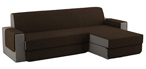 Fundas para Sofa Acolchado, Funda Sofa Chaise Longue Brazo Chaise Derecho / Izquierdo (250 CM), Cubre Sofa Reversible, Marron Oscuro