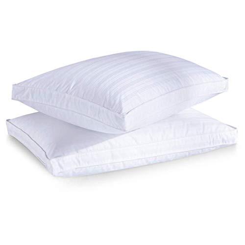 puredown® Almohadas de Plumas de Ganso con Funda de Almohada Extraíble, Almohada para Dormir, Funda de Algodón 100%, Juego de 2, 46 * 66 * 4.4cm