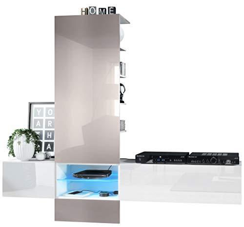Vladon Wohnwand Anbauwand Manhattan V2, Korpus in Weiß matt/Fronten in Weiß Hochglanz, Paneel in Sandgrau Hochglanz mit LED Beleuchtung