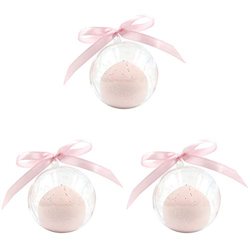 Blender éponge de maquillage, 3pcs éponges de base libres de latex pour les cosmétiques liquides/de poudre/de crème. Multicolore/Multi-formes avec 3pcs cas de voyage transparent,Rose