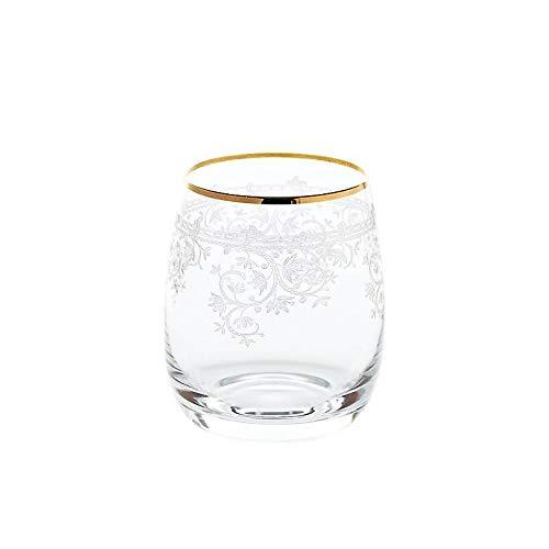 CRISTALICA Whiskyglas Charisma Flora Trinkbecher Cocktailglas Saftglas 400ml Panto Goldrand