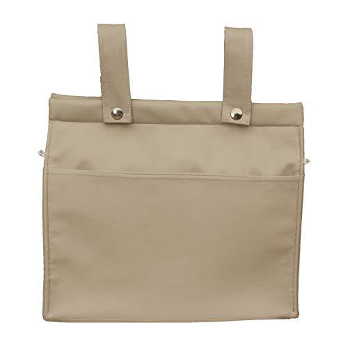 Bolso para Silla de Paseo - Talega para silla de Paseo Rosy Fuentes- Incluye bolsillos interiores - Limpieza Sencilla - Elaborado en Ecopiel - Color camel