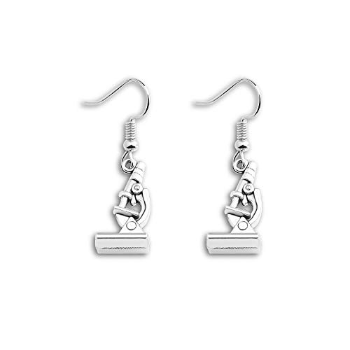 ENSIANTH Biology Chemistry Earrings Gift Science Graduation Microscope Charms Earrings (Microscope Earrings)
