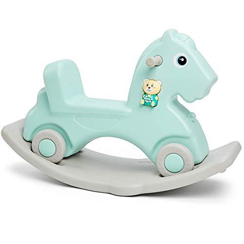 ZHKXBG Baby Schaukelpferd, Kinder Rocker, Indoor Outdoor Baby Schaukelstuhl, Infant Schaukel Tier, Geschenk für 1-6J Kinder,Grün