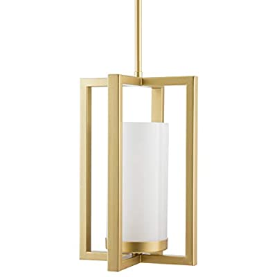 Verona Industrial Pendant Light | Satin Brass Hanging Light Fixture with LED Bulb LL-P13-3SB