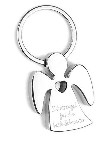 ART + emotions Schlüsselanhänger Schutzengel - für die Beste Schwester - Metall verchromt mit Herz und hochwertiger Lasergravur inkl. schöner Geschenkbox - Glücksbringer Talisman fürs Auto, Reise