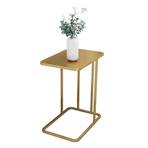 Sofa Side End Table C Shape, Marble Top Desk for Coffee/Tea/Snack/Laptop, with Golden Wrought Iron Frame, Decorative Living Room Bedroom Nightstands(Color:Gold)