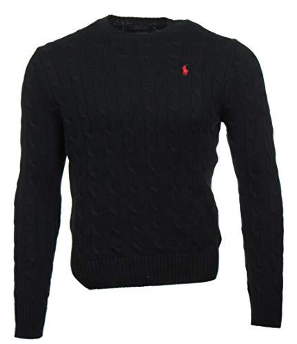 Ralph Lauren Zopfmuster Pullover - Schwarz mit rotem Logo (L)