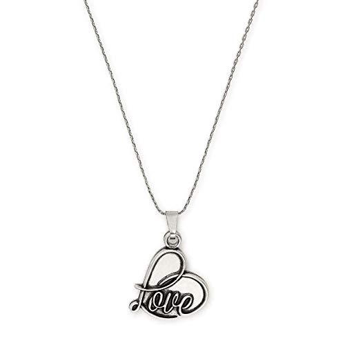 Alex and Ani Path of Symbols Adjustable Necklace for Women, Love Pendant, Rafaelian Silver Finish, 32 in