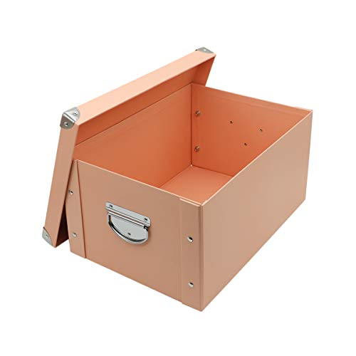 GUOZI Collapsible File Storage BoxHome Decorative Cardboard Storage Bin with Dust-Proof Lids and Strong HandlesOffice LetterLegal Organizer Pink 3525175cm
