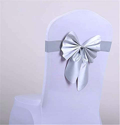Stretch Chair Sashes Bows Elastic Chair Bands with Buckle Slider Bows for Wedding Decorations Silver-10