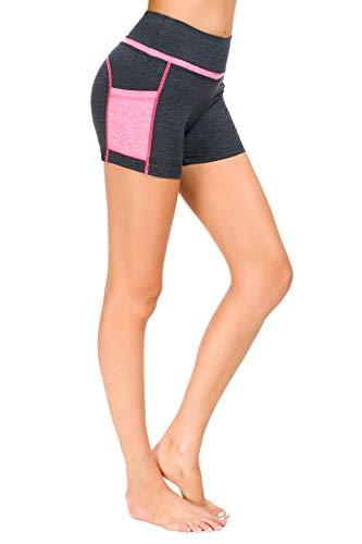 Munvot Kurze Sporthose Damen Leggins Kurz Radlerhose, Blickdicht & Taschen & High Waist Leggings für Sommer Sport Training Gym Yoga Fitness Yoga - Z1257-1013(Pink)/M (38-40)