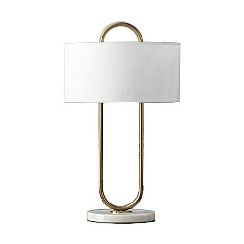 Lámpara de escritorio para sala de oficina Interruptor de botón de noche lámpara de mesa, lámpara minimalista Mesilla de noche, dormitorio de la lámpara, de lino + Pantalla de mármol Base Lámpara de m