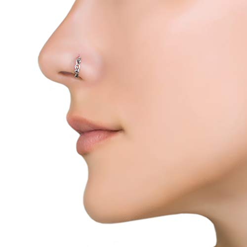 Unique Nose Ring, Sterling Silver Boho Ethnic Nose Hoop Piercing Earring, fits Tragus, Earlobes, Helix, Septum, 20g, Handmade Piercing Jewelry