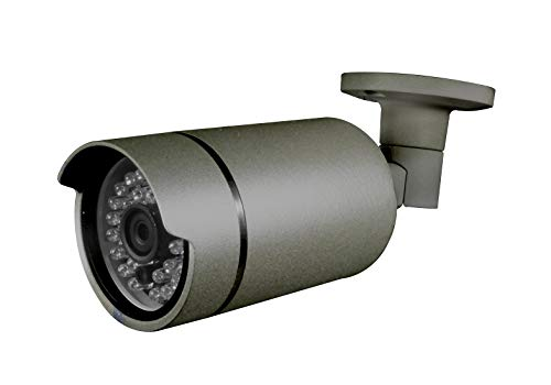Sinis 1080P Hybrid CCTV Grigio Bullet Camera, 2Mega Pixel, TVI/CVI/AHD/CVBS 4 in 1, obiettivo fisso da 3,6 mm e 24 LED IR, IP66 impermeabile Day/Night Vision IR Cut – TVI predefinito