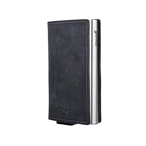 mogdi Nano Black Premium Herren Portmonee RFID Schutz Kartenetui Business Geldbörse feinstes A++ Echtleder Wallet Geldbeutel (Silber)