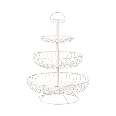 3-Tier Decorative Display Fruit Basket, Cream, 13  x 13