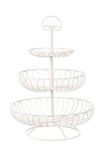 Obst-Etagere von Juvale - 3 Stufen - Dekorativ Obst, Gemüse oder Muffins, Cupcakes aufbewahren - Haltegriff zum Einfachen Tragen - Für Haushalt oder Party - Weiß - Metall - 33 x 33cm - AUSVERKAUF
