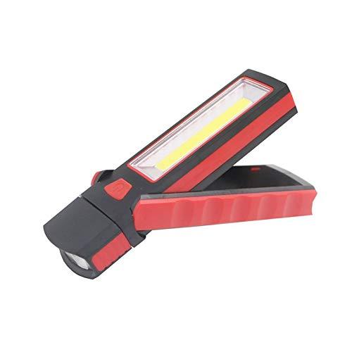 PHH Lámpara de inspección de luz de Trabajo LED Linterna antorcha Hoja magnética Herramienta de Mano Garaje al Aire Libre Lámpara de Campamento Linterna Antorcha (Emitting Color : Red)