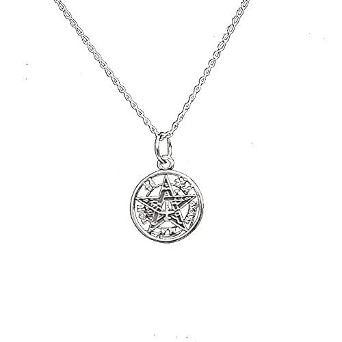 perlascarel Colgante Tetragramaton Plata de Ley 925 1,5 CM. con Cadena Plata de...