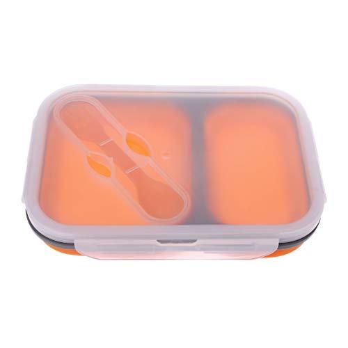 holilest Fiambrera Plegable Plegable Microondas Bento Silicona Fiambrera Tazón Recipiente de Comida 2 Compartimentos Almacenamiento Portátil-Naranja