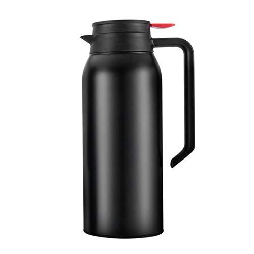 Edelstahl-Thermosflasche 1,5 L Isolierkanne Thermoskanne Quick Tip Verschluss 100{4cae67a0df8efcfedca51fe94f609ba5053483a771b24928d907295d8f9510b0} Dicht und kompakt 24 Stunden kalt und heiß Trinkflasche für Kaffee Tee Outdoor Reisen Sport - gefrostet Schwarz