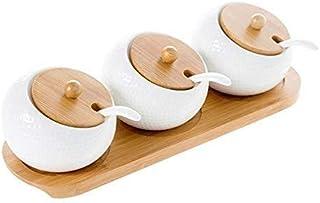YYAI-HHJU 3 Pièces/Ensemble Pot en Céramique Peut Assaisonner Boîte Sel Poivre Conteneur Organisateur Boîtes À Condiments ...