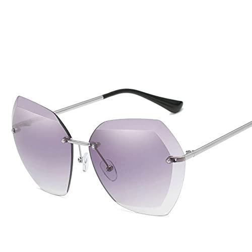 Beizi Gafas de Sol sin Montura de Lujo para Mujer Diseñador de la Marca Verano Oversized Vintage Shades Gafas de Sol para Mujer Mujer Lady Sunglass UV400 Silver-Grey