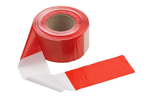 Connex Absperrband 50 m x 80 mm - rot / weiß - Beidseitig bedruckt - UV-beständig & reißfest - Aus Polyethylen (PE) / Warnband / Flatterband / Markierungsband / Absperrungsband / DY2701591
