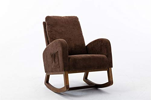 Fugarp Rocking Chair, Mid Century Retro Modern Living Room Rocking Chair Comfortable Armrest Chair