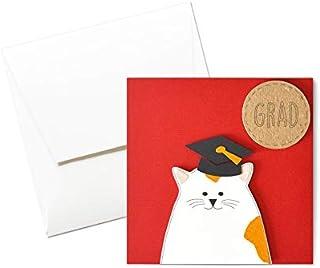 Grad - catlover - laurea - biglietto d'auguri (formato 12 x 12 cm) - vuoto all'interno, ideale per il tuo messaggio person...
