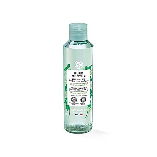 Yves Rocher PURE MENTHE - Acqua micellare purificante per la cura del viso con menta di pepe biologico, per pelli luminose, 1 flacone da 200 ml