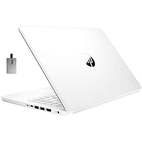 "2021 HP Stream 14"" HD Laptop Computer, Intel Celeron N4020 Processor, 4GB RAM, 64GB eMMC, HD Audio, HD Webcam, Intel UHD Graphics 600, 1 Year Office, Win 10 S, White, 128GB SnowBell USB Card"
