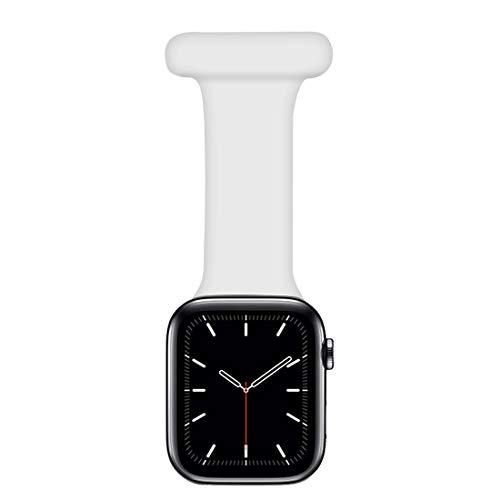 Coholl Correa Compatible con Apple Watch Correa 38/40mm,42/44mm diseño de Control infecciones Fob Silicona para Enfermeras parteras médicos paramédicos iWatch Series SE/6/5/4/3/2/1,White