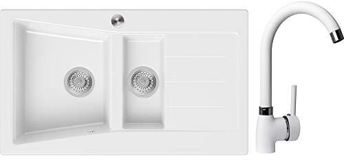 Spülbecken Weiß 88 x 52 cm, Granitspüle + Küchenarmatur + Siphon Pop-Up, Küchenspüle ab 60er Unterschrank, Einbauspüle Madrid von Primagran