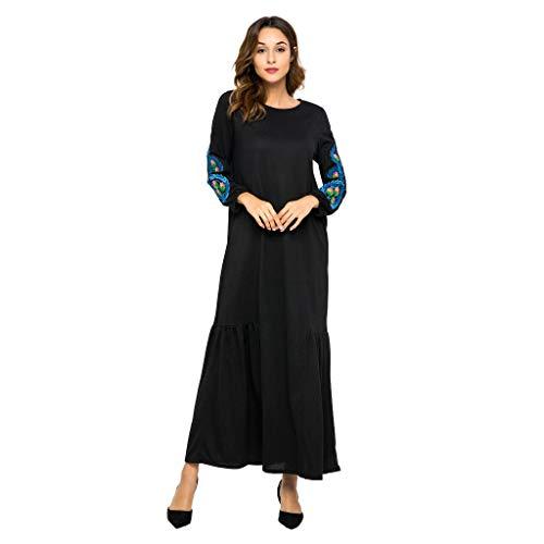 NINGSANJIN Arabisch Roben Muslime Lange Maxi Kleid Beiläufig Lose Islamisch Kleidung Kaftan Marokkanisch Abend Party Kleider Maxi (Schwarz,XXL)