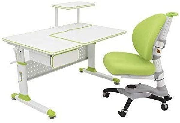 ApexDesk Little Soleil DX 43 W 儿童高度可调学习桌 W 集成搁板抽屉 05 桌椅捆绿色