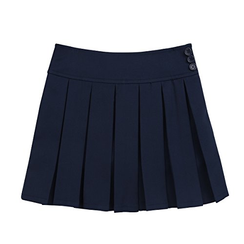 dPois Big Girls' School Uniform Mini Skirts Vintage Pleated Scooter Skirt with Hidden Shorts Navy Blue 14