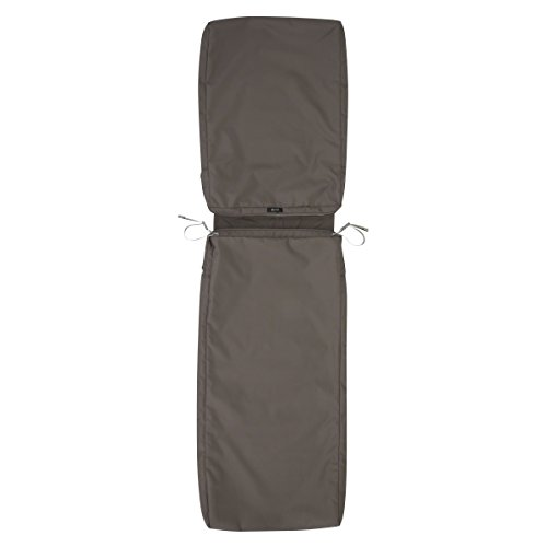 Classic Accessories Ravenna Patio Chaise Lounge Cushion Slip Cover - Durable Outdoor Cushion, Dark Taupe, 72'L x 21'W x 3'Thick