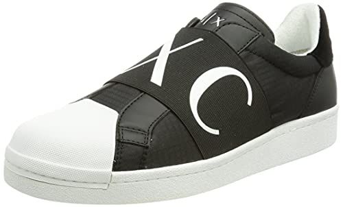 Armani Exchange Oslo Elastic Band Low Slip ON, Zapatillas Hombre, Negro, 42 EU