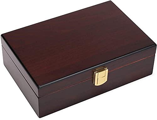 Humidores de cigarros, Humidor de cigarro hecho a mano Revestimiento de cedro español para 10 a 20 Cuentas, Caja de cigarro de escritorio Conjunto de regalo con cerradura de cierre y humidificador, ma
