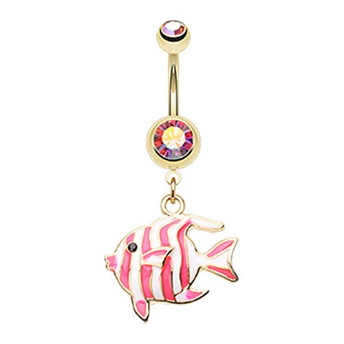 Pierced Owl 14G Gold Plated Stainless Steel CZ Crystal Tropical Striped Fish Dangling Belly Button Ring (Pink)