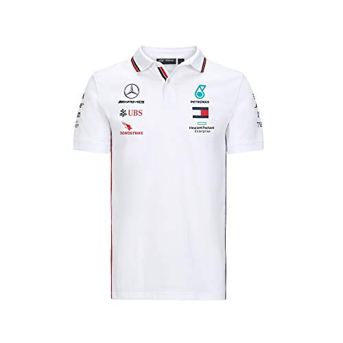 MAMGP Offizielles 2020 Mercedes-AMG F1 Team Herren T-Shirt Polo-Shirt Lewis Hamilton, Weißes Poloshirt, Mens (XXL) Chest 120-124cm