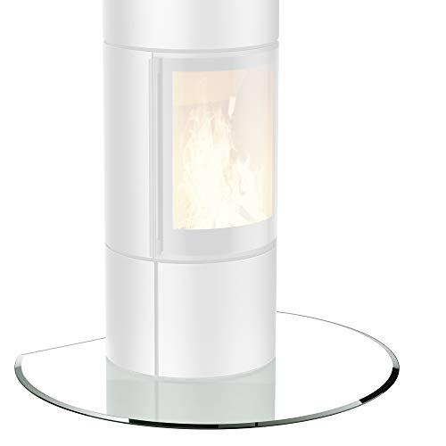 bijon® Glasplatte für Kaminofen Kreisabschnitt mit Dichtlippe Glasbodenplatte - Funkenschutzplatte Glas | Kamin Hitzeschutz | 100 x 120 cm – 8 mm ESG Kamin-Bodenplatte