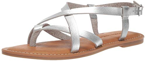Amazon Essentials Women's Casual Strappy Sandal, Silver, 8 B US